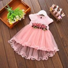 Été enfants nouveau-né infantile bébé filles robe rose blanc jaune violet Bow fleur printemps fête robe de bal Tutu robes de princesse