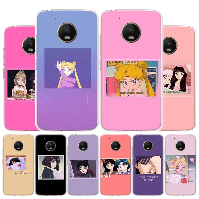 Funda de teléfono de Anime japonés estético amigo para Motorola Moto G8 G7 G6 G5S G5 G4 E6 E4 E5 Plus Play Power One Action X4 Coq