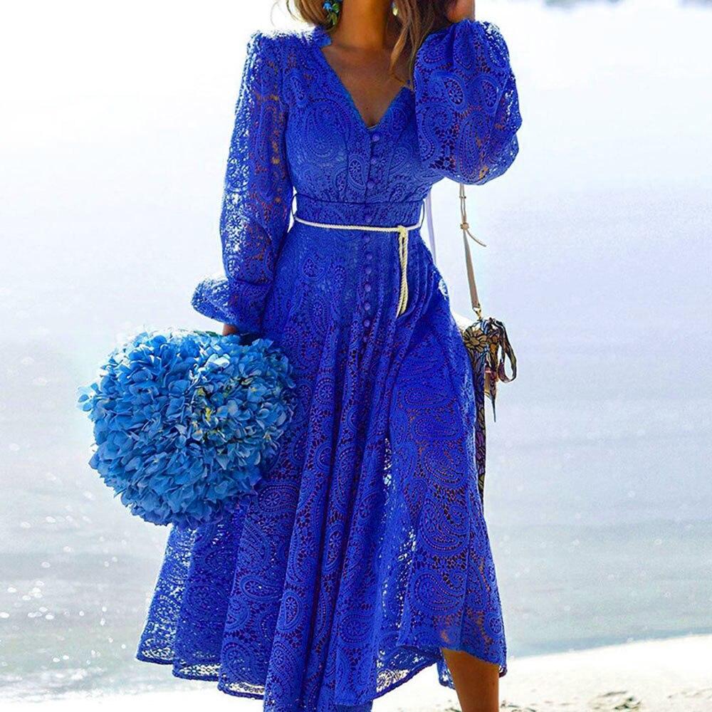 فستان عطلة نسائي من الدانتيل ، زي دانتيل مثير ، أنيق ، عصري ، لون سادة ، خريف ، أزرق ، مجموعة 2021