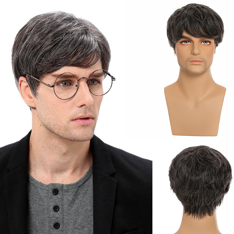 Short Straight Dark Grey Synthetic Wigs With Bangs For White Men Human Blend Hair Fleeciness Realistic Natural Wig For Young Boy