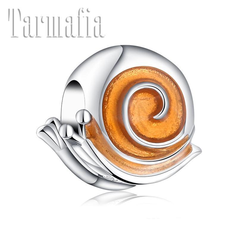 ¡Producto en oferta! Cuentas finas de esmalte dorado de Plata de Ley 925 con forma de caracol para mujer, pulsera con abalorio Original, fabricación de joyas para mujer