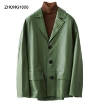 leather 2020 new genuine coat for women korean style suit collar single breasted sheepskin jacket leather coat