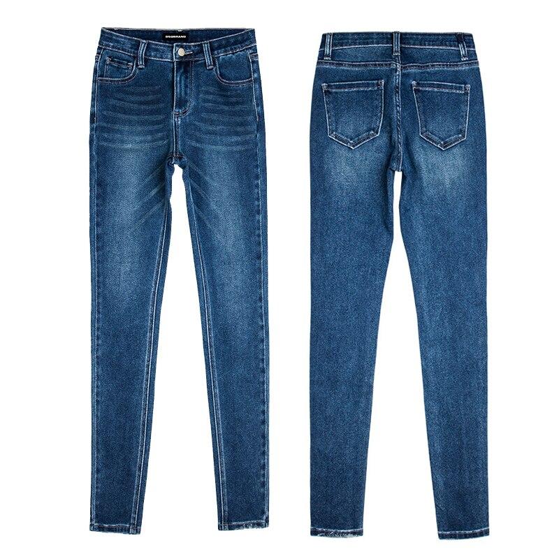 Женские джинсы темно-синие брюки с эффектом потертости высокие эластичные узкие брюки со средней талией брендовые Роскошные модные летние ...