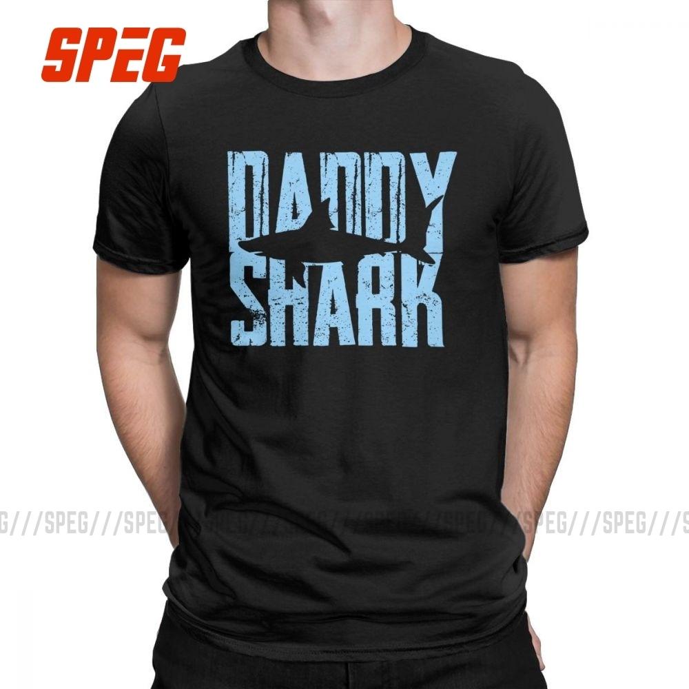 Papai tubarão engraçado presente dos homens t camisas pai pais dia vovô cara vintage algodão manga curta t o pescoço camiseta gráfico topos