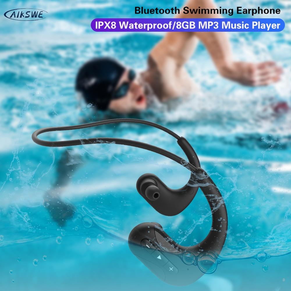 AIKSWE السباحة سماعات بلوتوث لاسلكية سماعات 8 جيجابايت IPX8 مقاوم للماء سماعات MP3 مشغل موسيقى الرياضة سماعة ل شاومي
