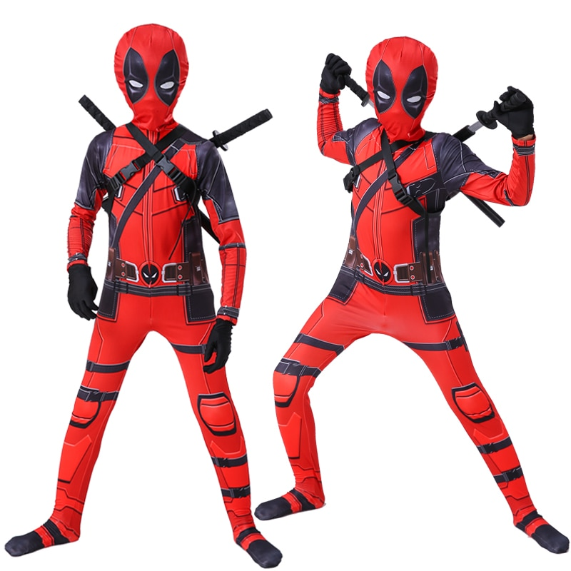 HOT kids Deadpool costume boys Superhero cosplay party costumes suit Halloween costume for kids adult