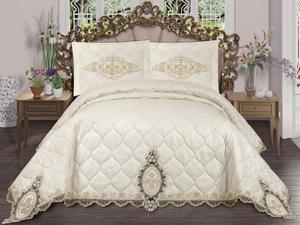 Dowries Quilted Bedspread Emerald Cream