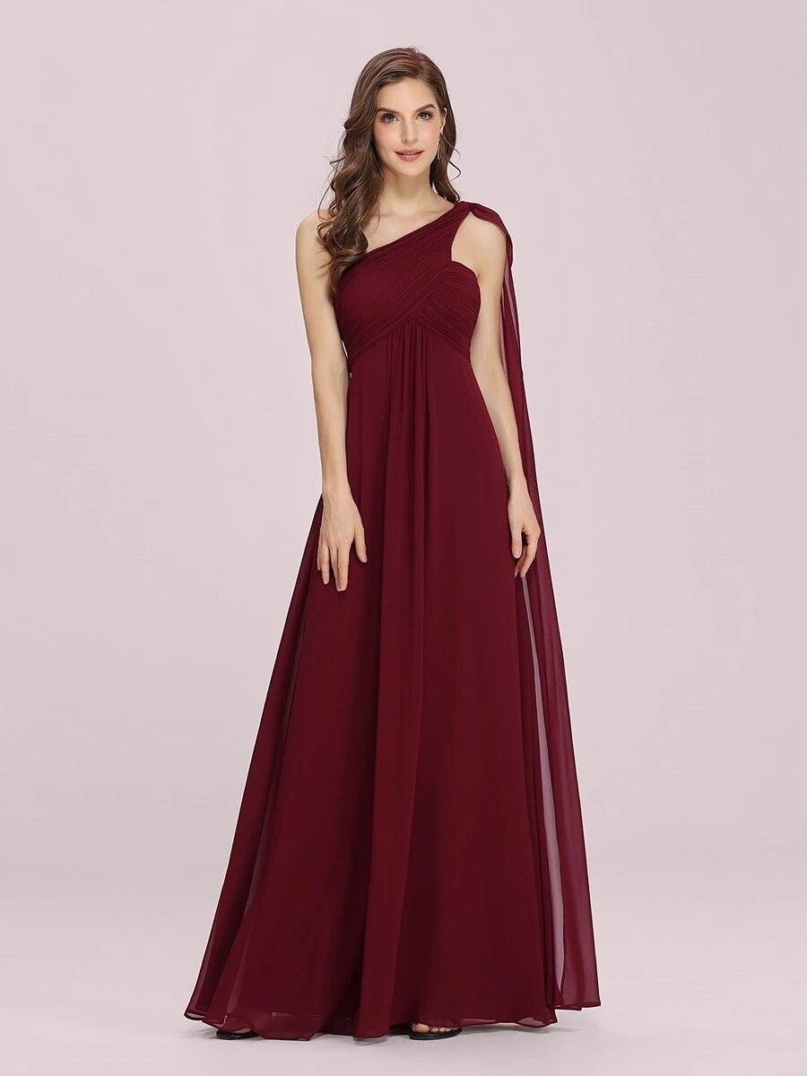 One Shoulder Chiffon Ruffles Long Evening Dresses for Wholesale
