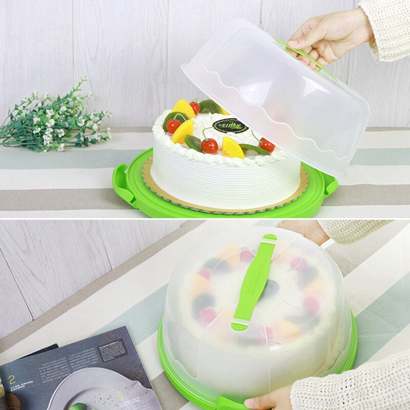 Rodada Bolo Transportadora Portátil Suporte De Armazenamento De Plástico Pastelaria Sobremesa Recipiente Tampa Do Caso Festa de Casamento Aniversário Suppli