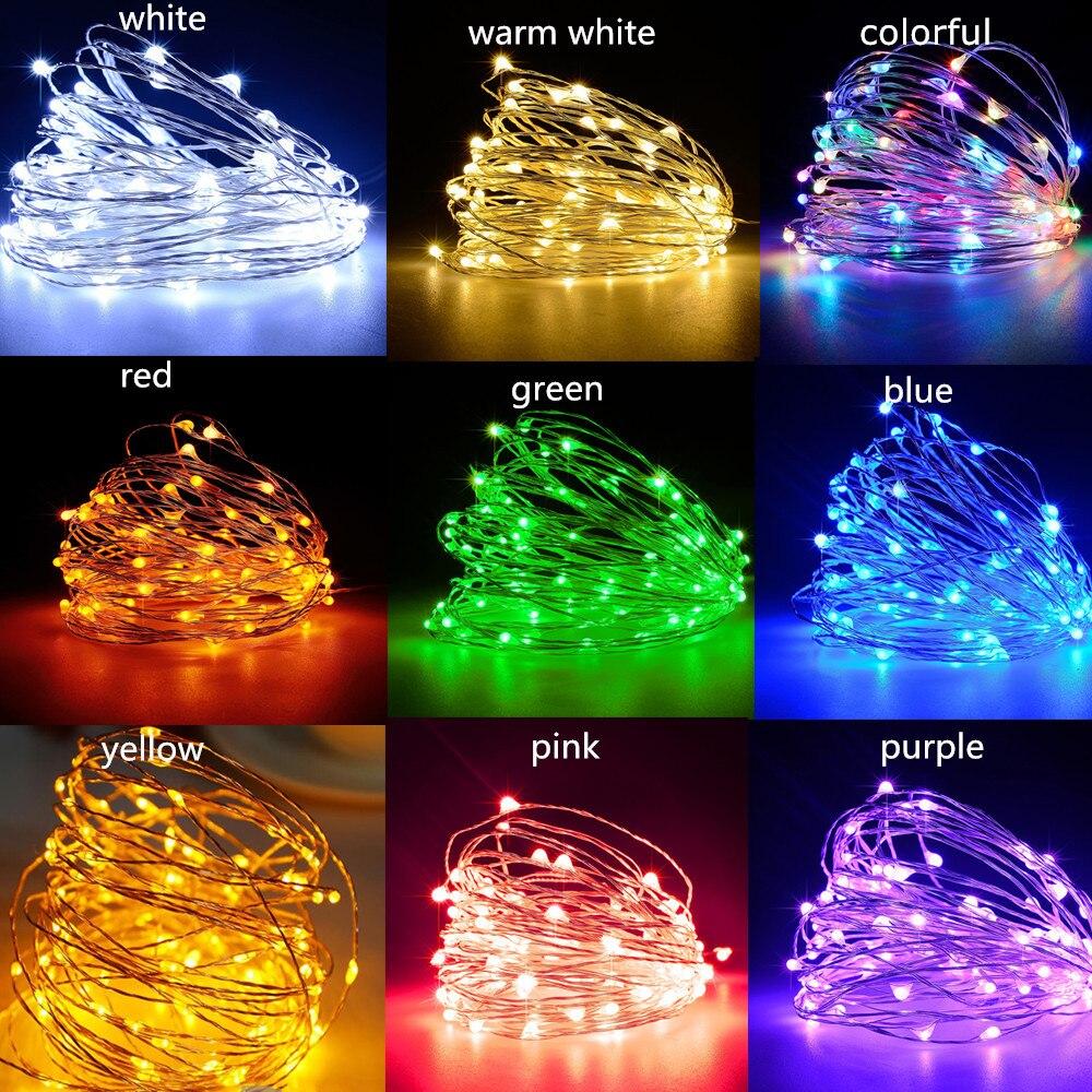 LED String Licht Silber Draht Fee Warme Weiße Garland Startseite Geburtstag Hochzeit Party Vorhang Dekoration Urlaub Weihnachten Lichter 3M