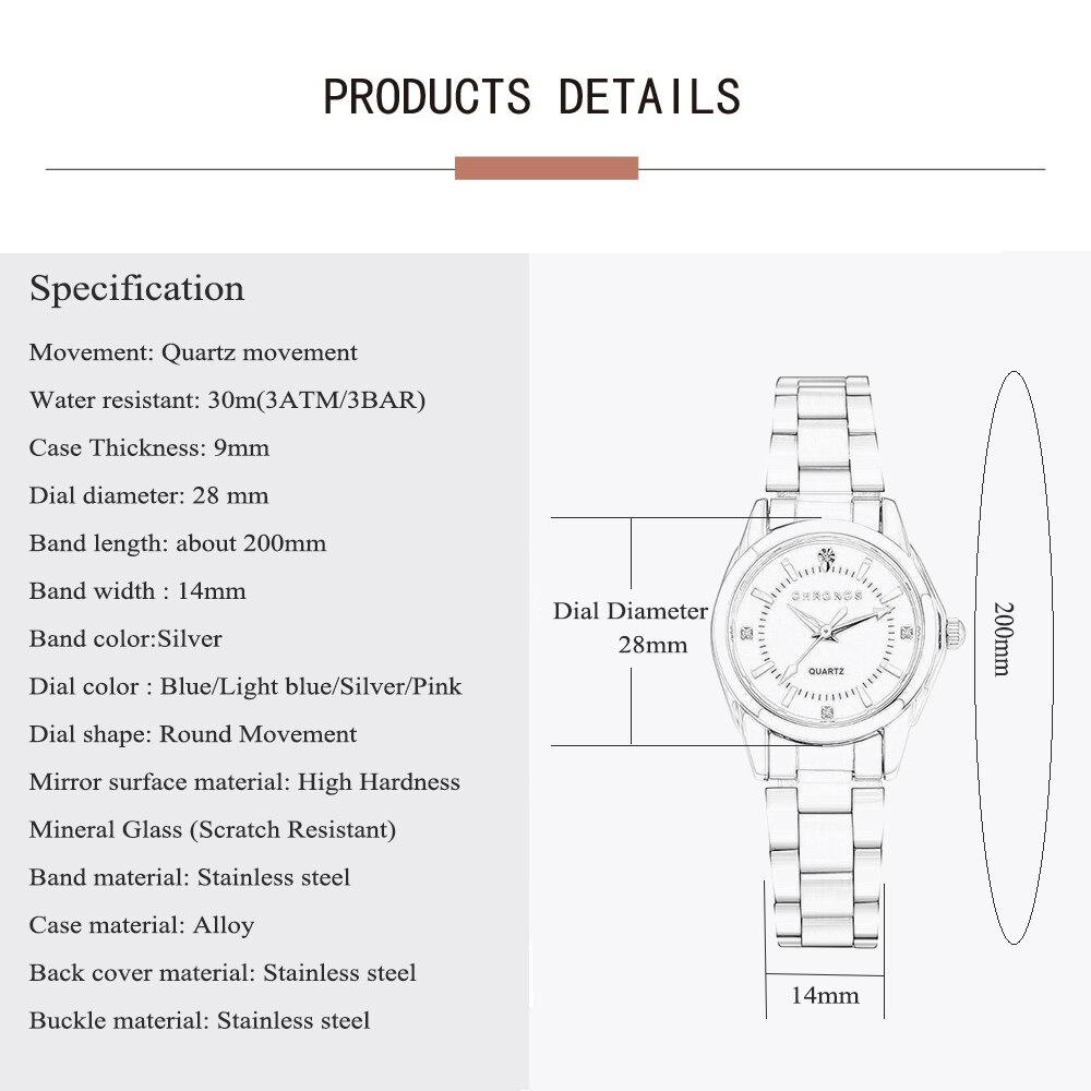 CHRONOS Women Luxury Rhinestone Stainless Steel Quartz Watches Ladies Business Watch Japanese Quartz Movement Relogio Feminino