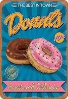 Signe Donuts doux et delicieux le meilleur de la ville  en metal  en etain  affiche de garage  decoration de bar  pub  maison  vintage retro