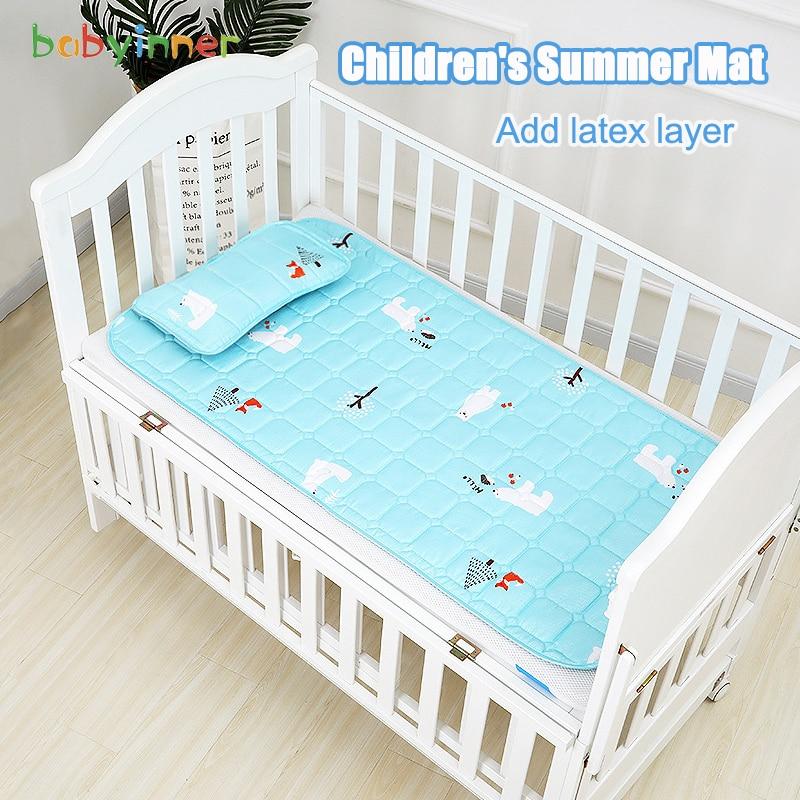 Babyinner Baby Cooling Crib Mats Summer Mat for Bed with Pillow Kids Latex Ice Silk Sleeping Pad Children Mattress Bedding Set