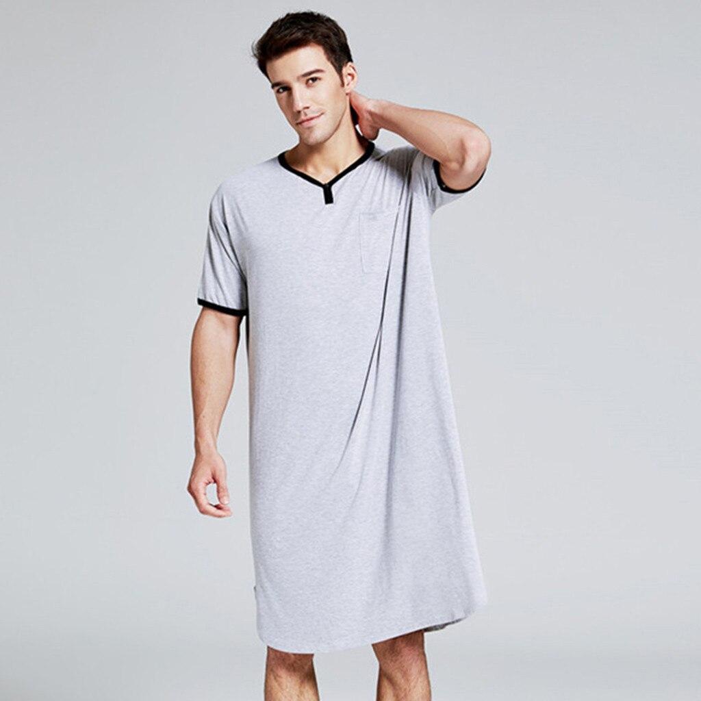 2020 homens sleepwear longo camisola de manga curta nightwear noite camisa macia confortável solto sono camisa masculina roupas de casa # g3