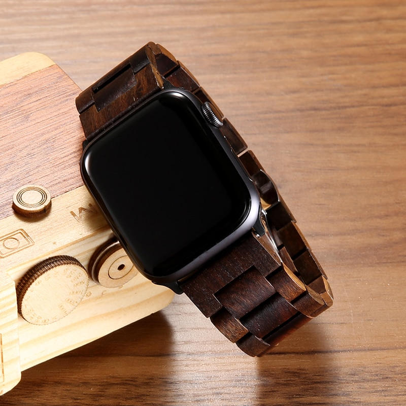 strap for Apple watch band 44mm 40mm Wooden Metal Butterfly clasp bracelet Applewatch series 6 SE 4