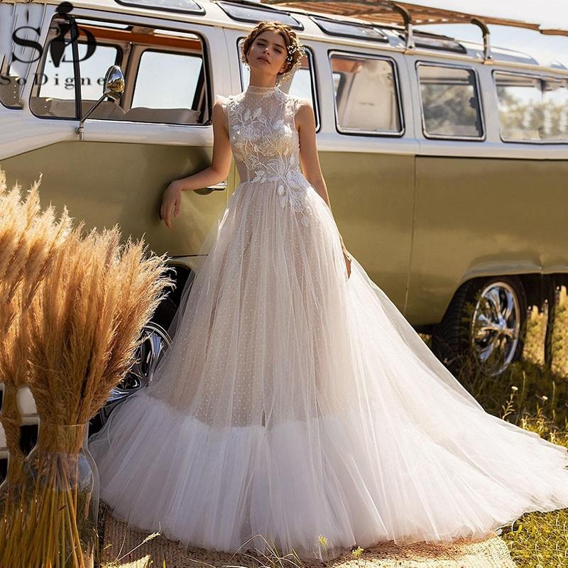 SoDigne Boho فساتين الزفاف 2021 الدانتيل زين تول الشاطئ زي العرائس زي العرائس حجم كبير ثوب الزفاف حفلة