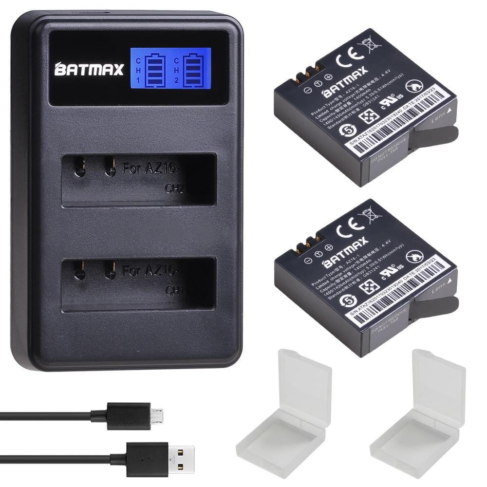 2 uds batería + LCD USB cargador Dual para Yi Lite Xiaomi YI 4K baterías akku Xiaomi Yi 2 4k cámara de deporte de acción Accesorios