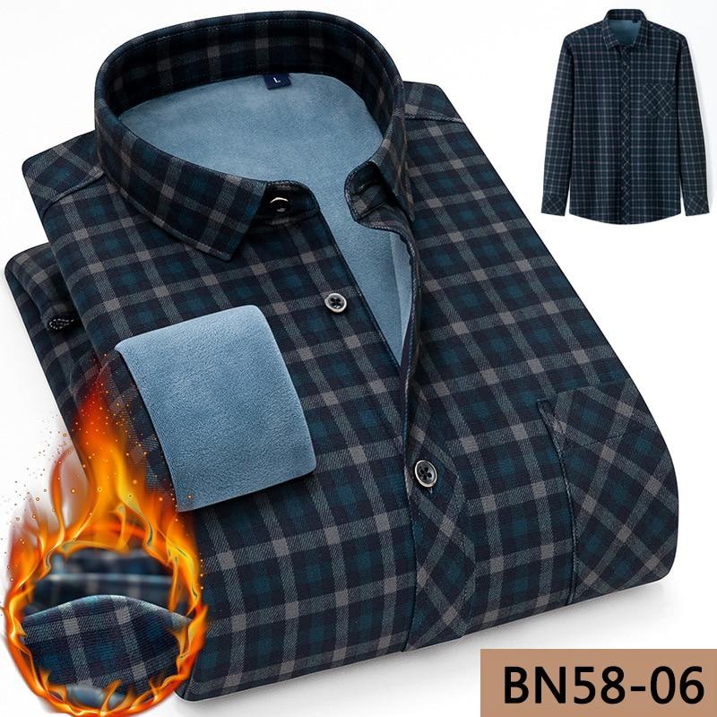 Рубашка мужская клетчатая, брендовая утепленная теплая блуза из бархата, деловая Повседневная качественная, Зимняя