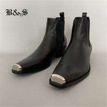 Black& Street Luxury iron toe wedge Chelsea genuine leather Boots new designer leather brand customized men dress Boots