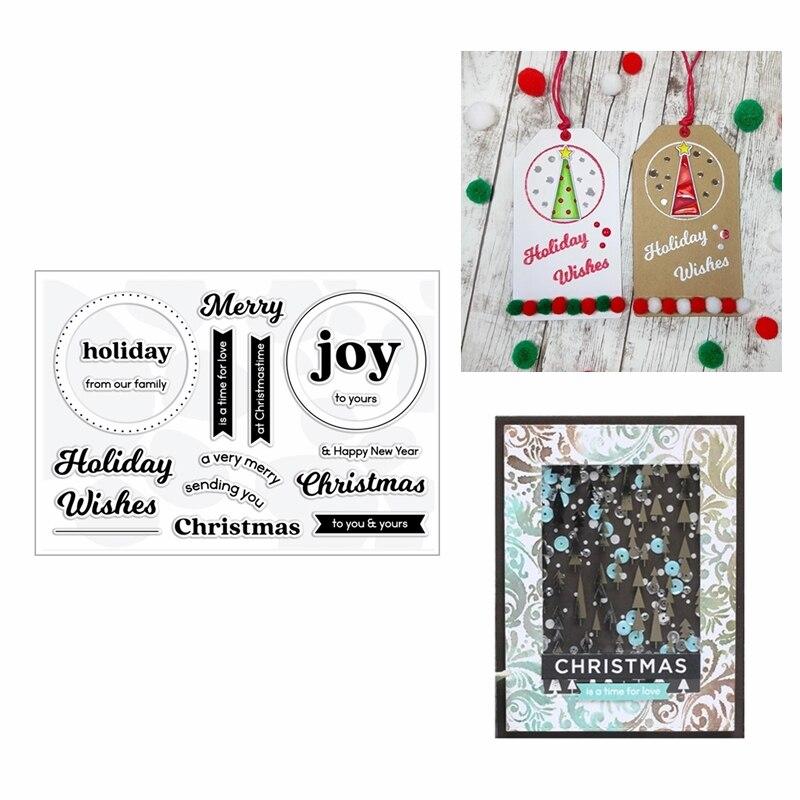 ¡Novedad de 2020! Troqueles de corte de Metal y sellos transparentes para álbum de recortes, Feliz Navidad, tarjeta de gofrado de palabras para hacer papel