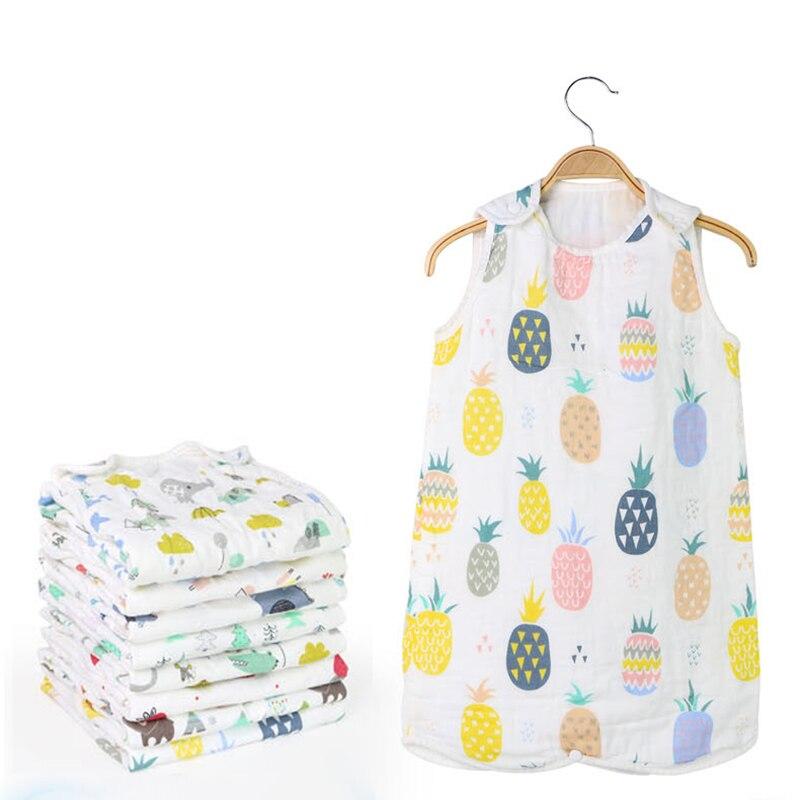 Cotton Sleeping Bag Washed Gauze Muslin Kids Sleepwear Thick Soft Blanket Vest Type Cotton Gauze Newborn Baby Sleeping Sacks