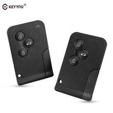 KEYYOU-carte intelligente 3 boutons   Étui pour carte scénique pour Renault Clio Logan Megane 2 3 Koleos, porte-clés de voiture noir avec petite clé