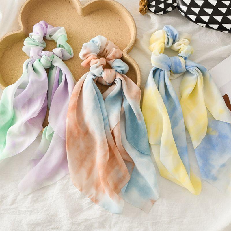 Cinta de gasa de verano para mujer, bufanda de Scrunchies, Color de contraste, Tie-Dye, bandas elásticas para pelo, cuerda, Bowknot, sostenedor de cola de caballo Boho
