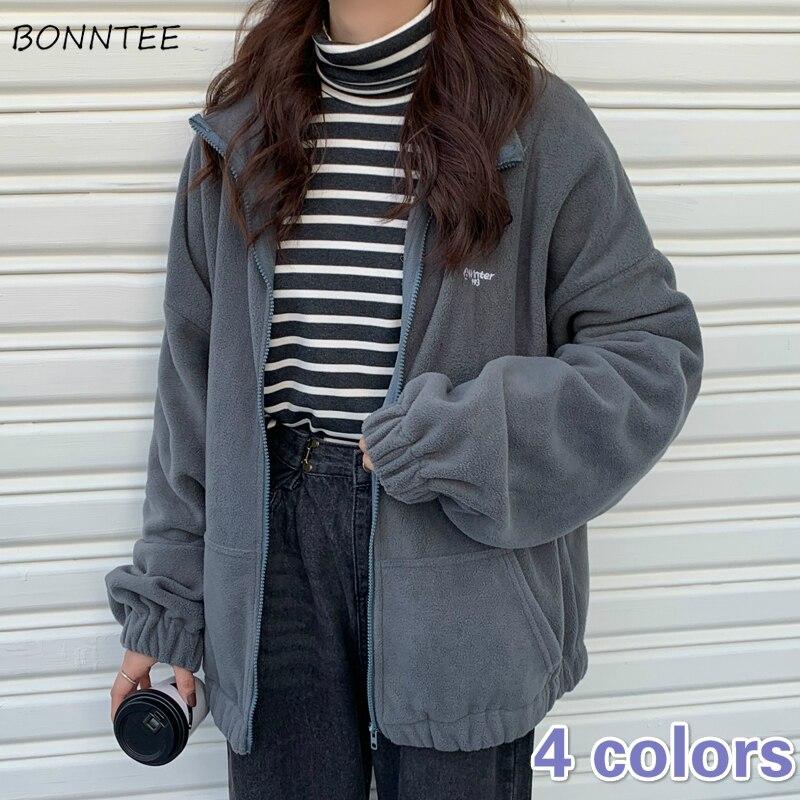 Sudadera con capucha para mujer, de lana, elegante, con bolsillos y letras, cuello vuelto, coreano, blanco, para mujer, con cremallera, Harajuku BF, ropa de calle de uso diario grande para chicas