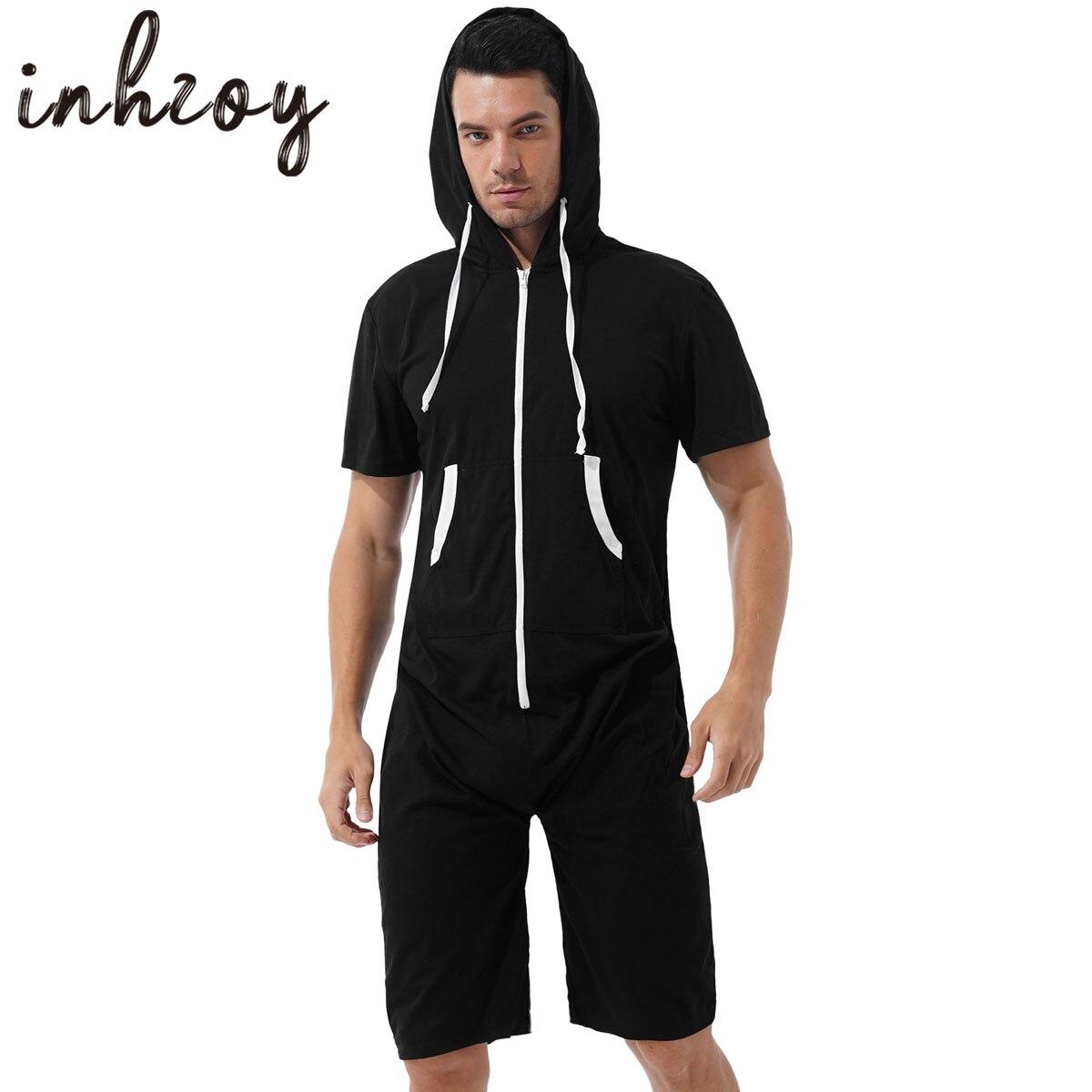 ثوب فضفاض رجالي بقلنسوة بدلة رياضية ملابس غير رسمية كم قصير سحاب قطعة واحدة بذلة ملابس نوم بيجامات