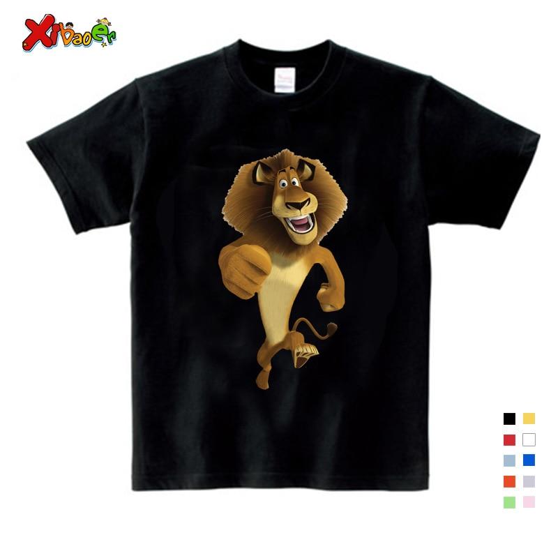 2019 Summer New T Shirt Cartoon Madagascar Lion Alex  Cute Tops T Shirt Summer Send Children Birthday Gift T-shirt 3-12 years