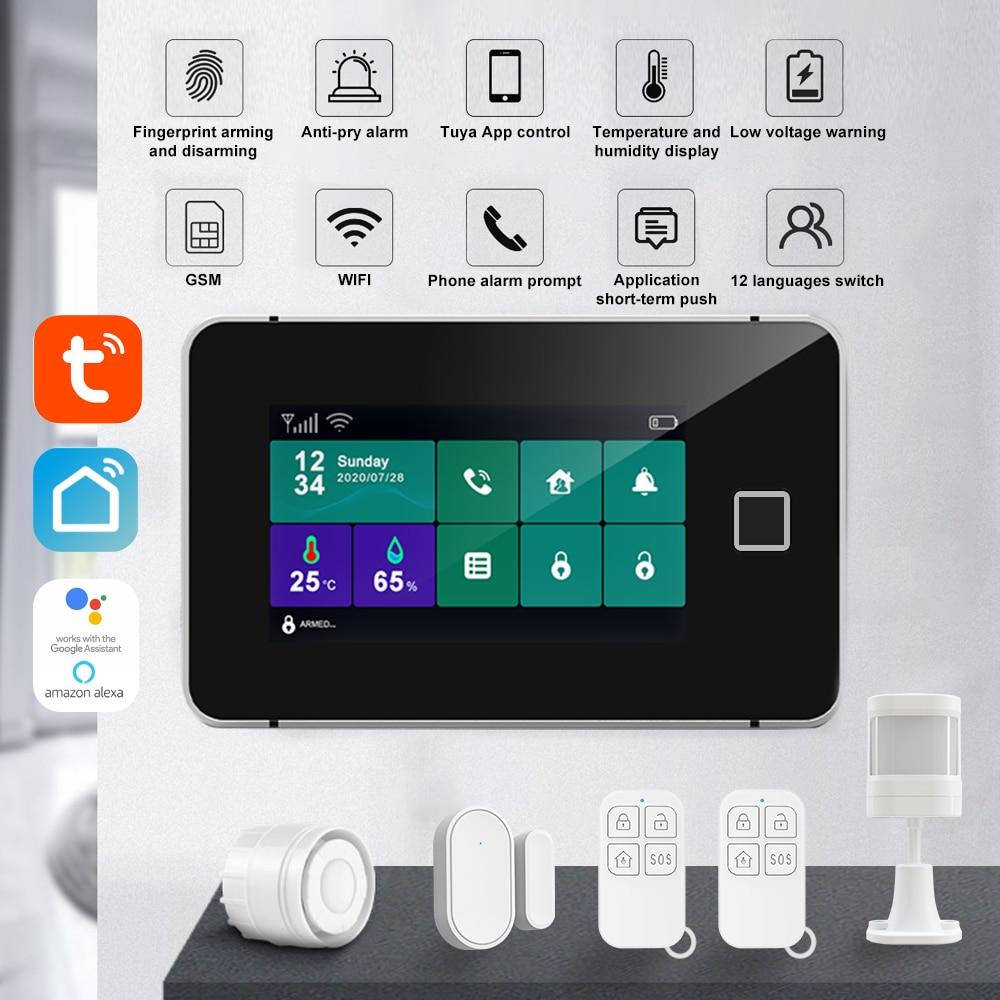 Tuya Smart WIFI Home Alarm System GSM Wireless Security Home Fingerprint Armed Burglar Motion Sensor For Smart Home Alexa Amazon