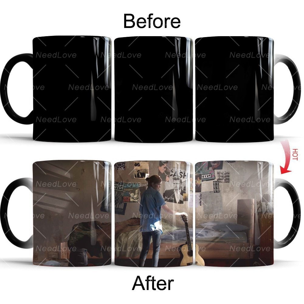 The Last of Us: Part II Color Changing Coffee Mug Ceramic Tea Cup Ellie Playing The Guitar Joel PS4 Surprise Gift
