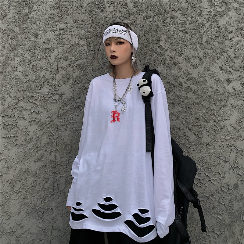 Fall 2021 New Korean Style Ins Street Ripped Solid Color Loose Bottoming Long Sleeve T-shirt Top Men