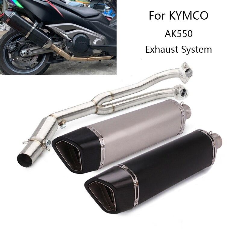 نظام Exhasut الكامل لأنبوب عادم دراجة نارية KYMCO AK550 ، أنبوب ربط انزلاقي 51 مللي متر ، كاتم صوت DB Killer ، 570 مللي متر