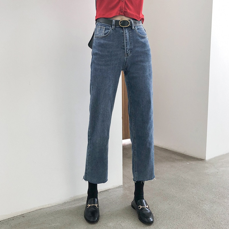 2020 Fashion Urban Leisure Spring and Autumn Retro High Waist Modified Leg Type Slim Pants with Raw Edge and Cropped Pants