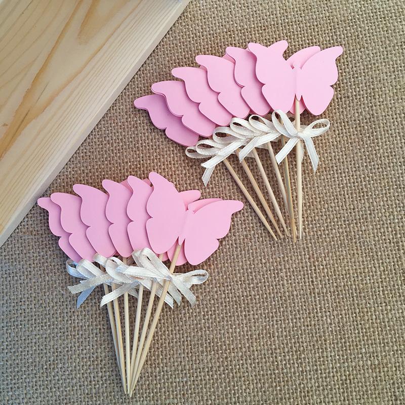 Arco & duplo-face rosa borboleta cupcake toppers chuveiro do bebê/aniversário da menina festa de fadas favores decoração festa de casamento picaretas