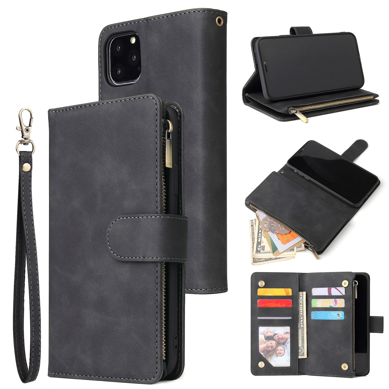 XXx حافظة جلدية مع سحاب لهاتف iphone ، حافظة هاتف قابلة للطي لهاتف iphone 12 Mini 11 Pro Max ، X ، XR ، XS ، 7 ، 8 Plus