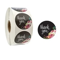 100 500 pcs i inch round black flowers thank you labels for party small business or wedding gift wrapping stationery sticker