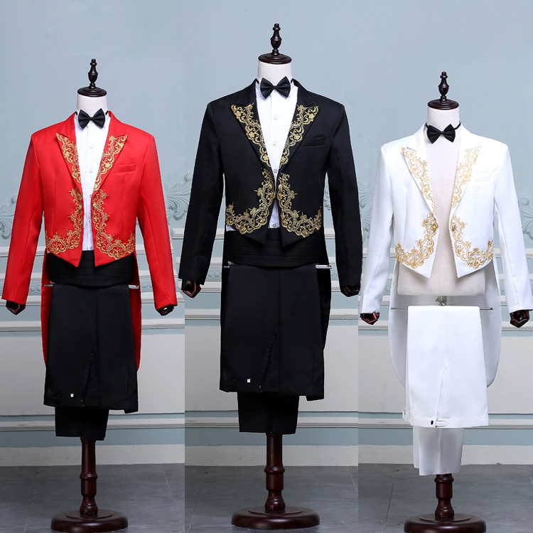 New men's tuxedo suit with floral embroidered suit stage magician costume two-piece tuxedo suit sets