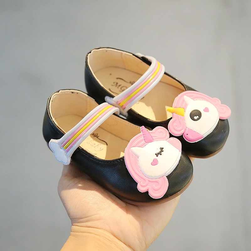 Toddlers Girls Shoes Sweet Cute Cartoon Unicorn Leather Shoes For Little Kids Children Flats Casual Soft Princess Classic 21-30
