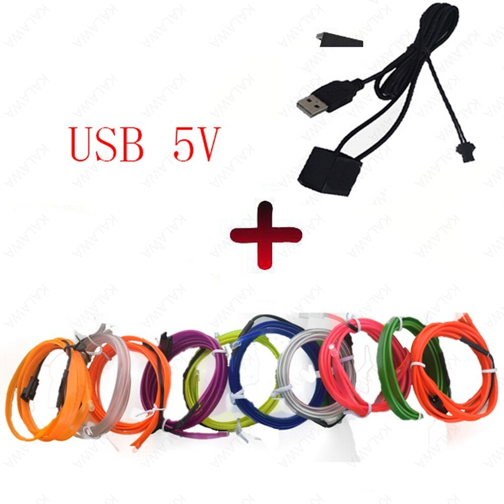 USB enchufe neón Led Flexible EL Cable de la cuerda de la tira de Cable LED coche impermeable costura borde coche Styling tubo 12V 3V 110V 5V