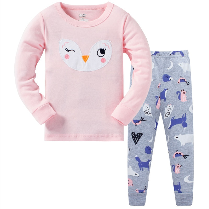 3-8 years baby Owl Giraffe Pattern 2020 new design baby girls pajamas sets 100% cotton high quality pyjamas kids