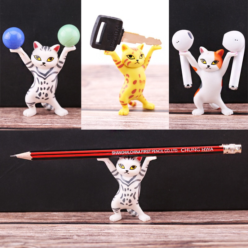 The Cat Lifting Holder Handmade Model Ornaments Lifted the Pen the Phone the AirPods