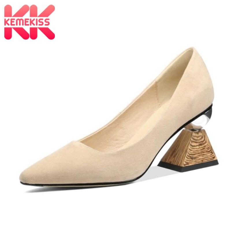 KemeKiss nouvelles femmes talons hauts chaussures en cuir véritable Design talons chaussures femmes pompes petit bout carré chaussures dentraînement taille 33-40