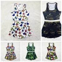 2021 summer new womens short skirt suit candy snack print pattern short skirt vest suit womens sports suit