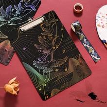 Bloc-notes Original bronzant la série de grue sauvage examen papier dossier papier haute perméabilité acrylique livre conseil Clip