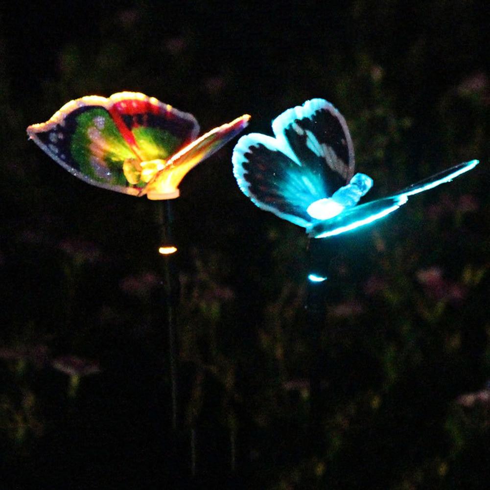Solar Lamp Butterfly Colorful Ground Lawn Light Outdoor Waterproof Garden Courtyard Decoration Landscape Nightlight