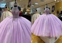 romantic lilac halter quinceanera prom dresses ball gown rhinestones top bling puffy skirt beaded evening formal gowns plus size