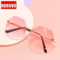 rbrovo 2021 rimless sunglasses women high quality vintage sunglasses women luxury brand eyeglasses women oculos de sol feminino