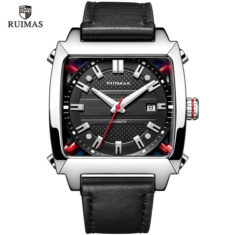 Механические часы мужские наручные автоматические Ретро деловые часы мужские водонепроницаемые черные кожаные часы Montre Homme наручные часы